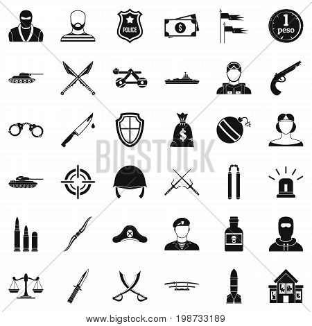 Weapon icons set. Simple style of 36 weapon vector icons for web isolated on white background