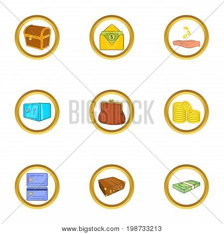 Bank safe icon set. Cartoon set of 9 bank safe vector icons for web isolated on white background