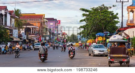 Koh Kong, Cambodia - January 3, 2017: One of central streets of Koh Kong. It is also known as Khemarak Phoumin