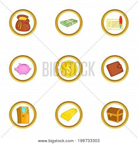 Money banking icon set. Cartoon set of 9 money banking vector icons for web isolated on white background
