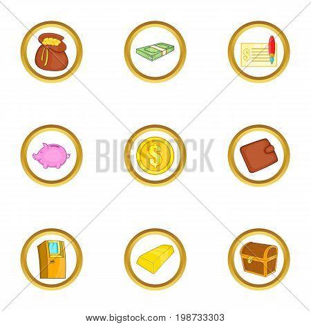 Money banking icon set. Cartoon set of 9 money banking vector icons for web isolated on white background