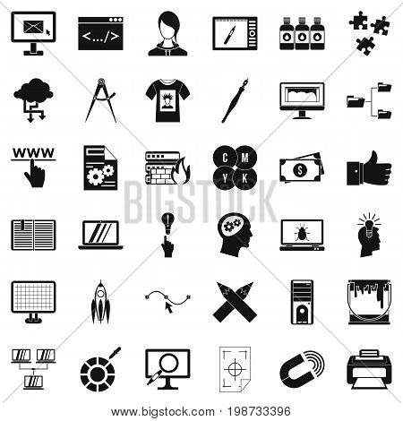Web design icons set. Simple style of 36 web design vector icons for web isolated on white background