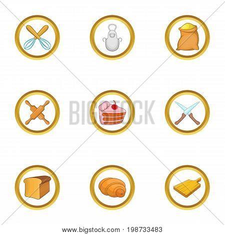 Bakery hobby icon set. Cartoon set of 9 bakery hobby vector icons for web isolated on white background