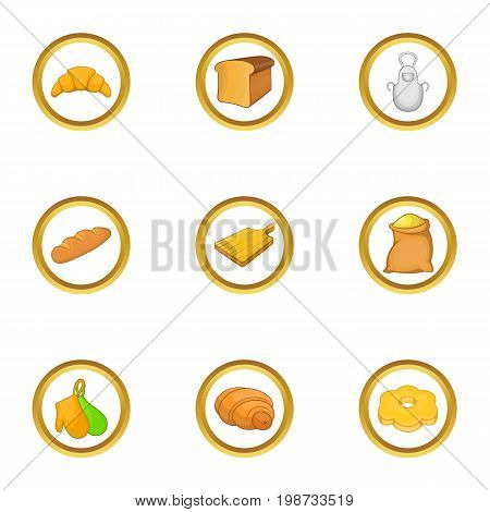 Bakery profession icon set. Cartoon set of 9 bakery profession vector icons for web isolated on white background