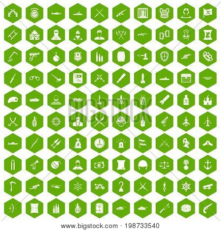 100 weapons icons set in green hexagon isolated vector illustration