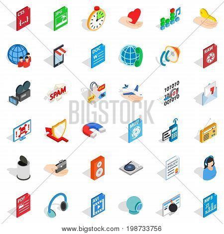 Web key icons set. isometric style of 36 web key vector icons for web isolated on white background