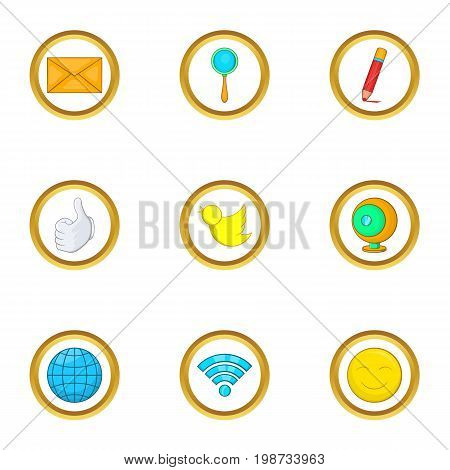 Global net icon set. Cartoon set of 9 global net vector icons for web isolated on white background
