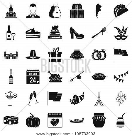 Wine icons set. Simple style of 36 wine vector icons for web isolated on white background