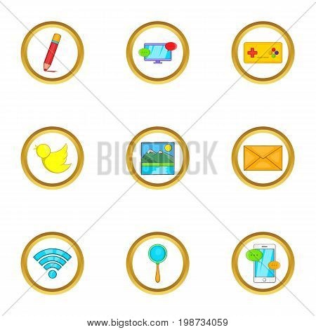 Web free time icon set. Cartoon set of 9 web free time vector icons for web isolated on white background