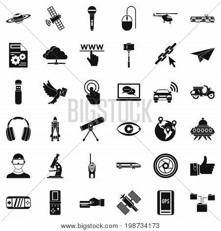 Wireless technology icons set. Simple style of 36 wireless technology vector icons for web isolated on white background