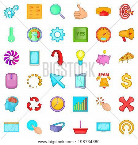 Work flow icons set. Cartoon style of 36 work flow vector icons for web isolated on white background