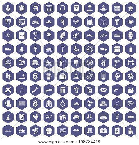 100 activity icons set in purple hexagon isolated vector illustration