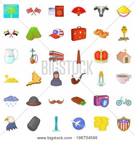 World tour icons set. Cartoon style of 36 world tour vector icons for web isolated on white background