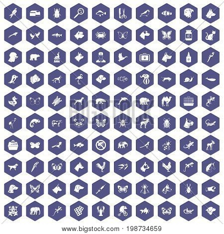 100 animals icons set in purple hexagon isolated vector illustration