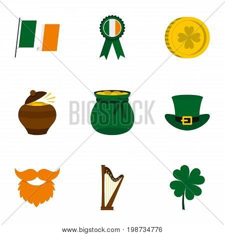 Saint Patrick day icon set. Flat style set of 9 Saint Patrick day vector icons for web isolated on white background