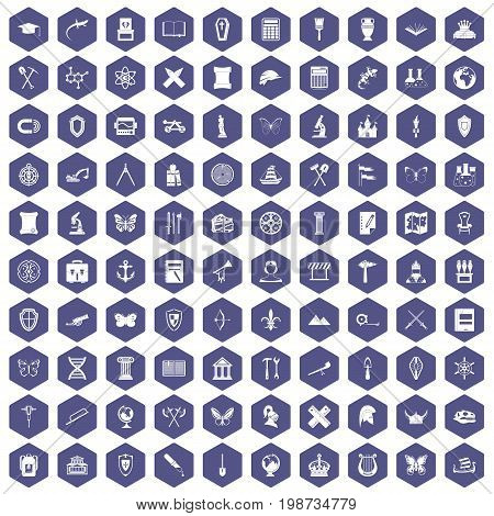 100 archeology icons set in purple hexagon isolated vector illustration