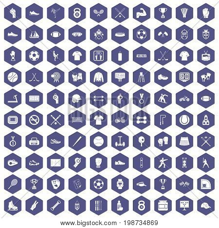 100 athlete icons set in purple hexagon isolated vector illustration