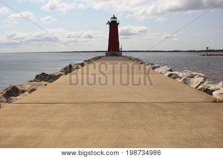 Manistique East Breakwater Light on Lake Michigan.  Upper Peninsula of Michigan