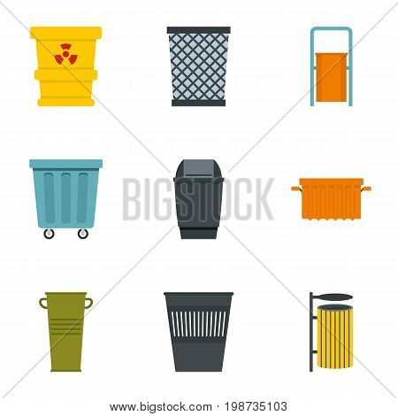 Garbage storage icon set. Flat style set of 9 garbage storage vector icons for web isolated on white background