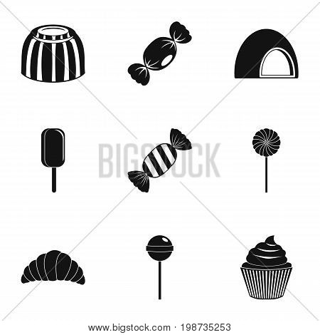 Sweet desserts icon set. Simple style set of 9 sweet vector icons for web isolated on white background