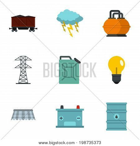 Power industry icon set. Flat style set of 9 energy sources vector icons for web isolated on white background