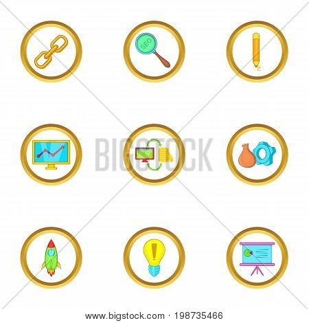 Startup icons set. Cartoon set of 9 startup vector icons for web isolated on white background