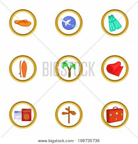 World tour icons set. Cartoon set of 9 world tour vector icons for web isolated on white background