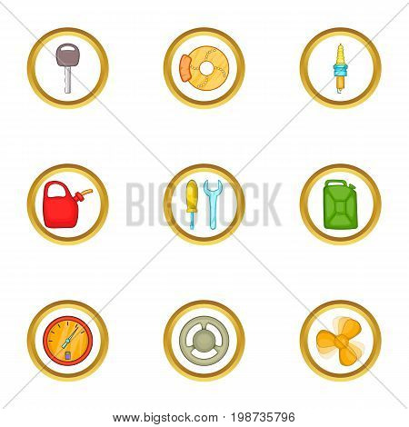 Car repair icons set. Cartoon set of 9 car repair vector icons for web isolated on white background