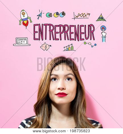 Entrepreneur text with young woman on a pink background