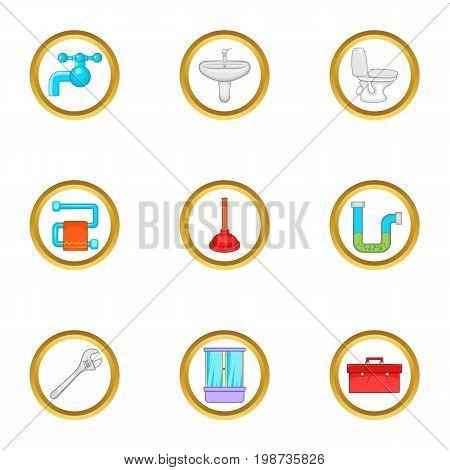 Bathroom plumbing icons set. Cartoon set of 9 bathroom plumbing vector icons for web isolated on white background
