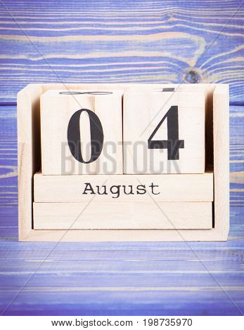 August 4Th. Date Of 4 August On Wooden Cube Calendar