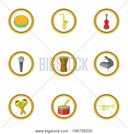 Instrument icons set. Cartoon set of 9 instrument vector icons for web isolated on white background