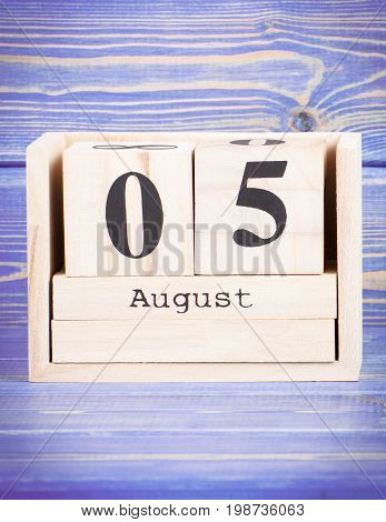 August 5Th. Date Of 5 August On Wooden Cube Calendar