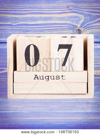 August 7Th. Date Of 7 August On Wooden Cube Calendar