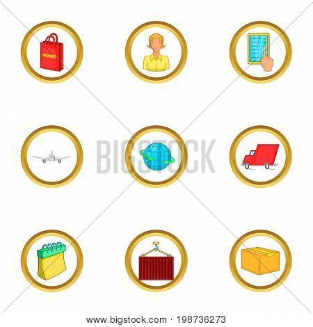 Post service icons set. Cartoon set of 9 post service vector icons for web isolated on white background