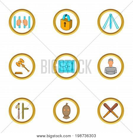 Jail icons set. Cartoon set of 9 jail vector icons for web isolated on white background