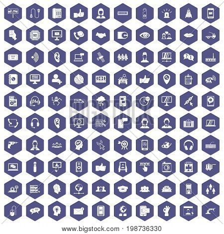 100 call center icons set in purple hexagon isolated vector illustration