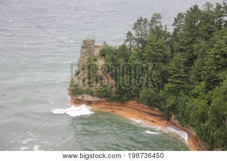 Miners Castle a rock fortation in Pictured Rocks National Lakeshore, Michigan