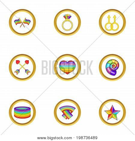 Lgbt symbols icons set. Cartoon set of 9 lgbt symbols vector icons for web isolated on white background