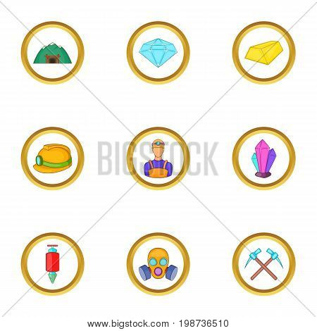Miner icons set. Cartoon set of 9 miner vector icons for web isolated on white background