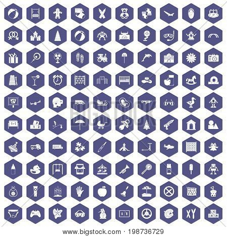 100 childhood icons set in purple hexagon isolated vector illustration