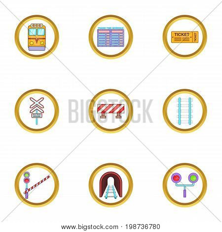 Train road icons set. Cartoon set of 9 Train road vector icons for web isolated on white background