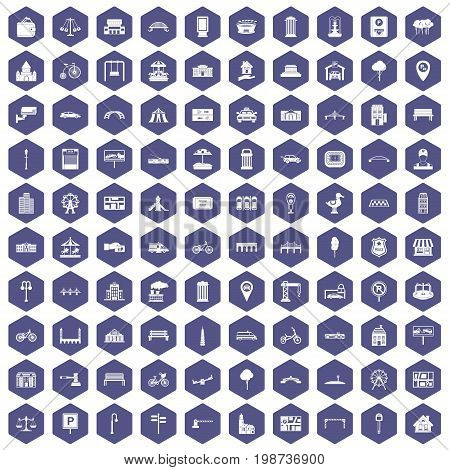 100 city icons set in purple hexagon isolated vector illustration