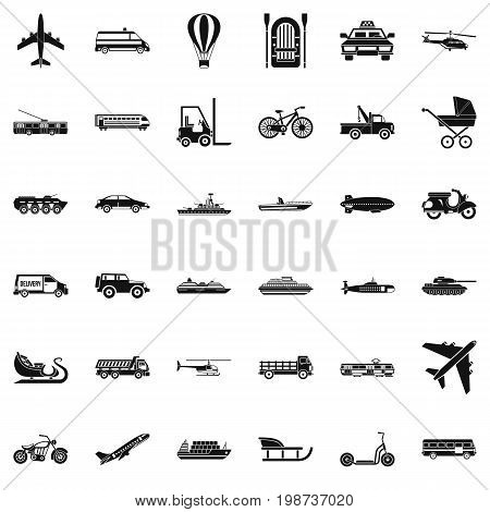 Moving transport icons set. Simple style of 36 moving transport vector icons for web isolated on white background