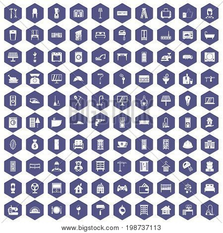 100 comfortable house icons set in purple hexagon isolated vector illustration