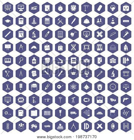 100 compass icons set in purple hexagon isolated vector illustration