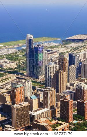 CHICAGO, USA - 20 July, 2017: Chicago Skyline aerial view with park and marina full of boats Chicago view of the city