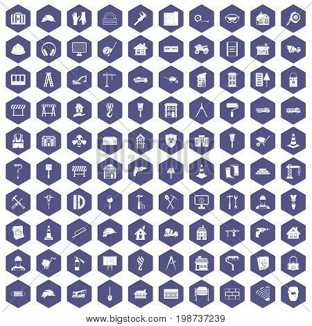 100 construction icons set in purple hexagon isolated vector illustration