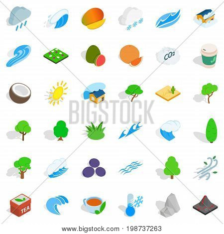 Autumn tree icons set. Isometric style of 36 autumn tree vector icons for web isolated on white background