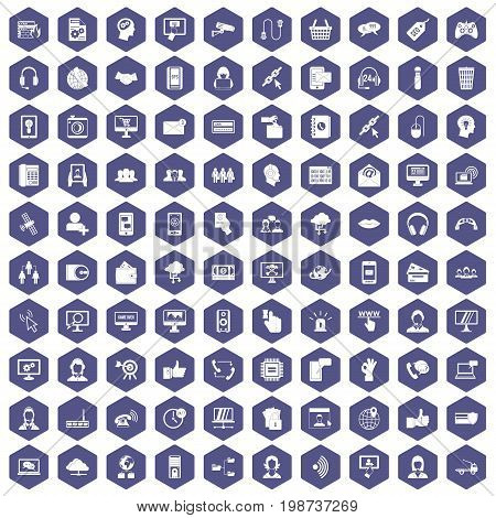 100 contact us icons set in purple hexagon isolated vector illustration